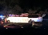 New York State Police confirmed 37 suffered minor injuries, five serious and one very serious. The bus wreckage is seen above