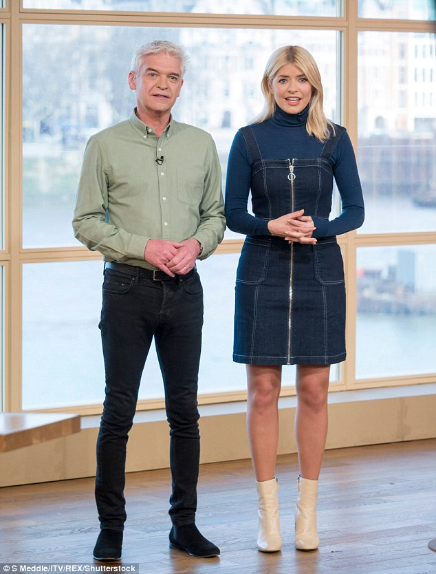 Catching up: Phillip Schofield and Holly Willoughby caught up with the Eurovision winner