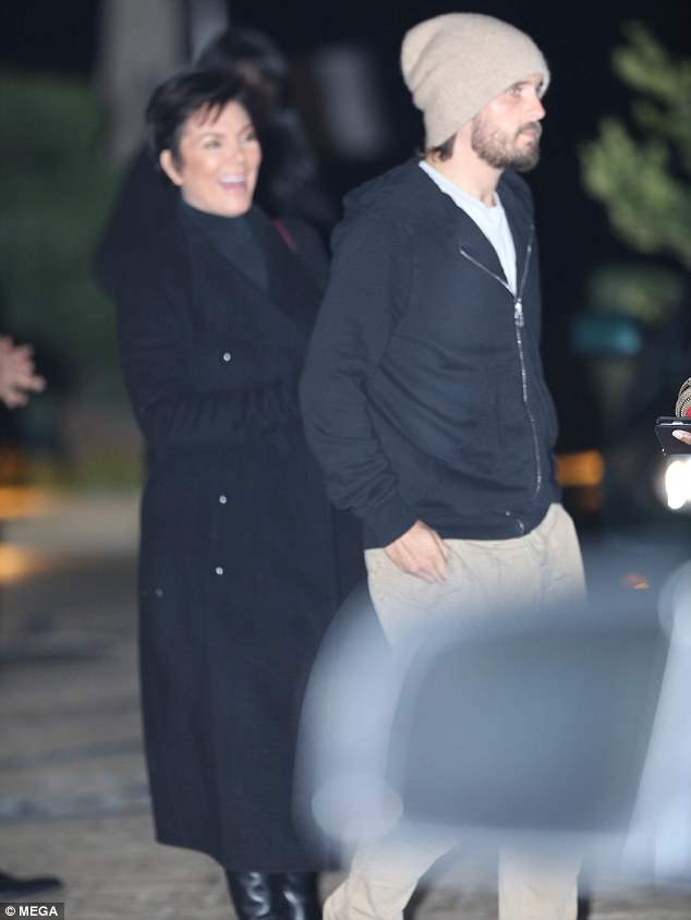 Sushi lovers: Scott remains close with his ex Kourtney Kardashian's mom, and the two even dined at Nobu in Malibu on Wednesday night