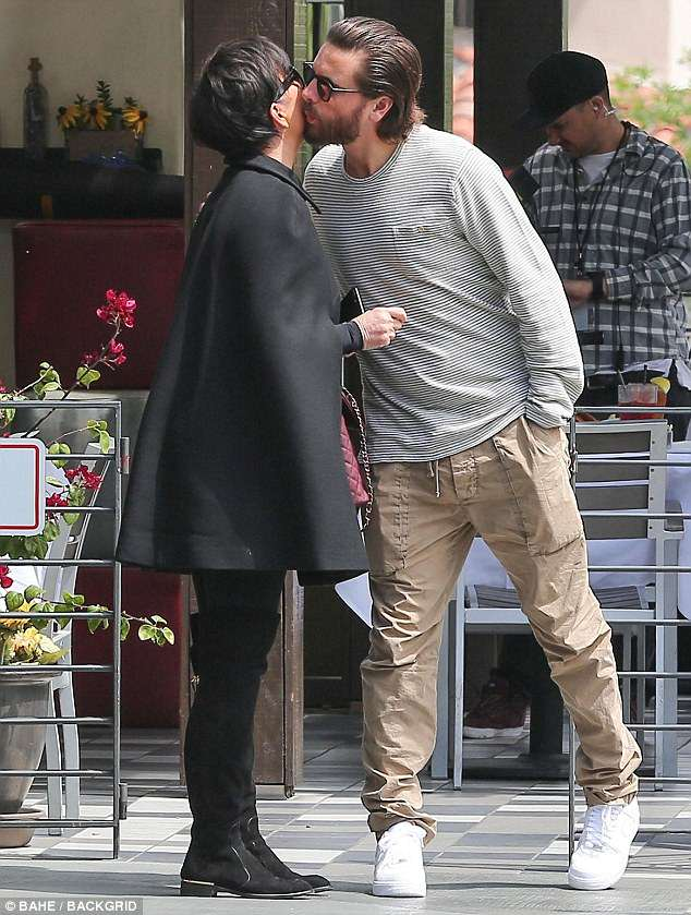The next day:The reality star was spotted giving Kardashian matriarch, Kris Jenner, a kiss on the cheek as they left lunch at Lovis Restaurant on Thursday