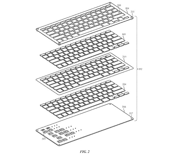 The mechanism may consist of structures such as brushes, wipers, and flaps that block gaps around key caps. Pictured is a view of the potential keyboard from the patent