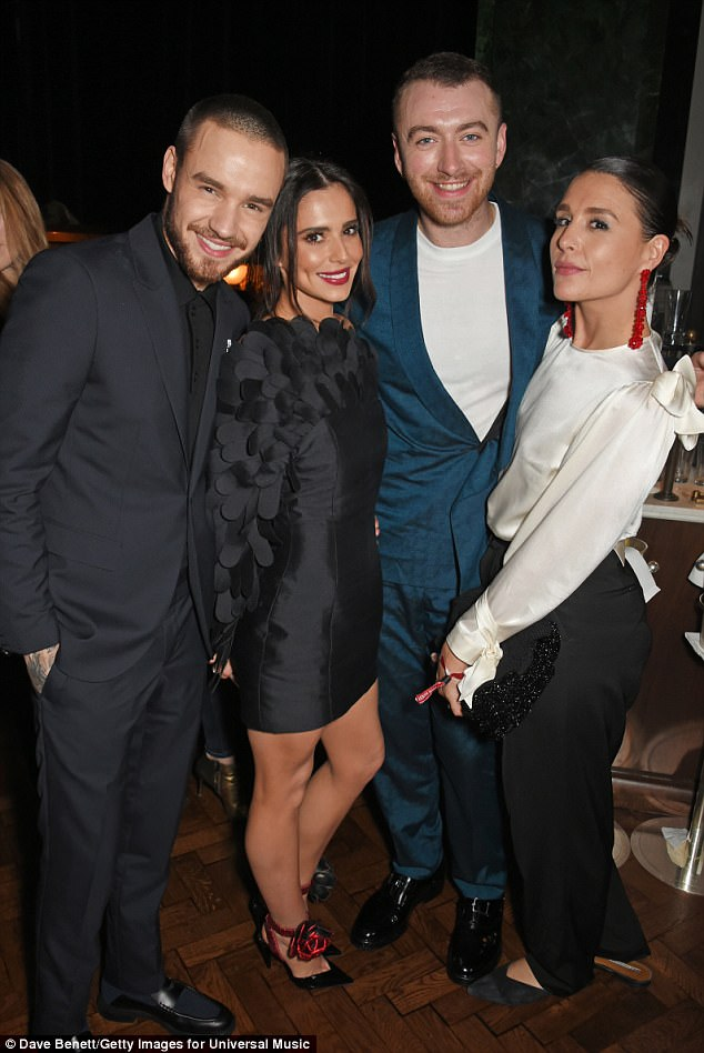 Stars together: Cheryl and Liam posed up a storm with fellow singers Sam Smith and Jessie Ware