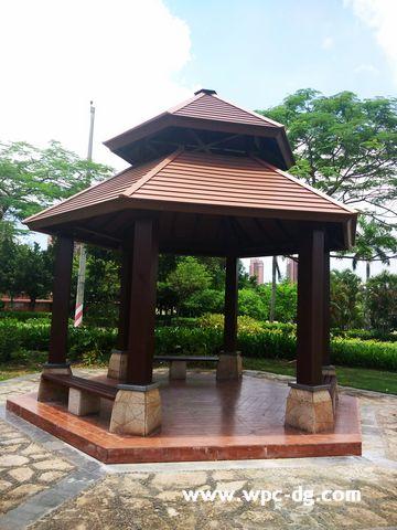 惠阳体育文化公园木塑亭子