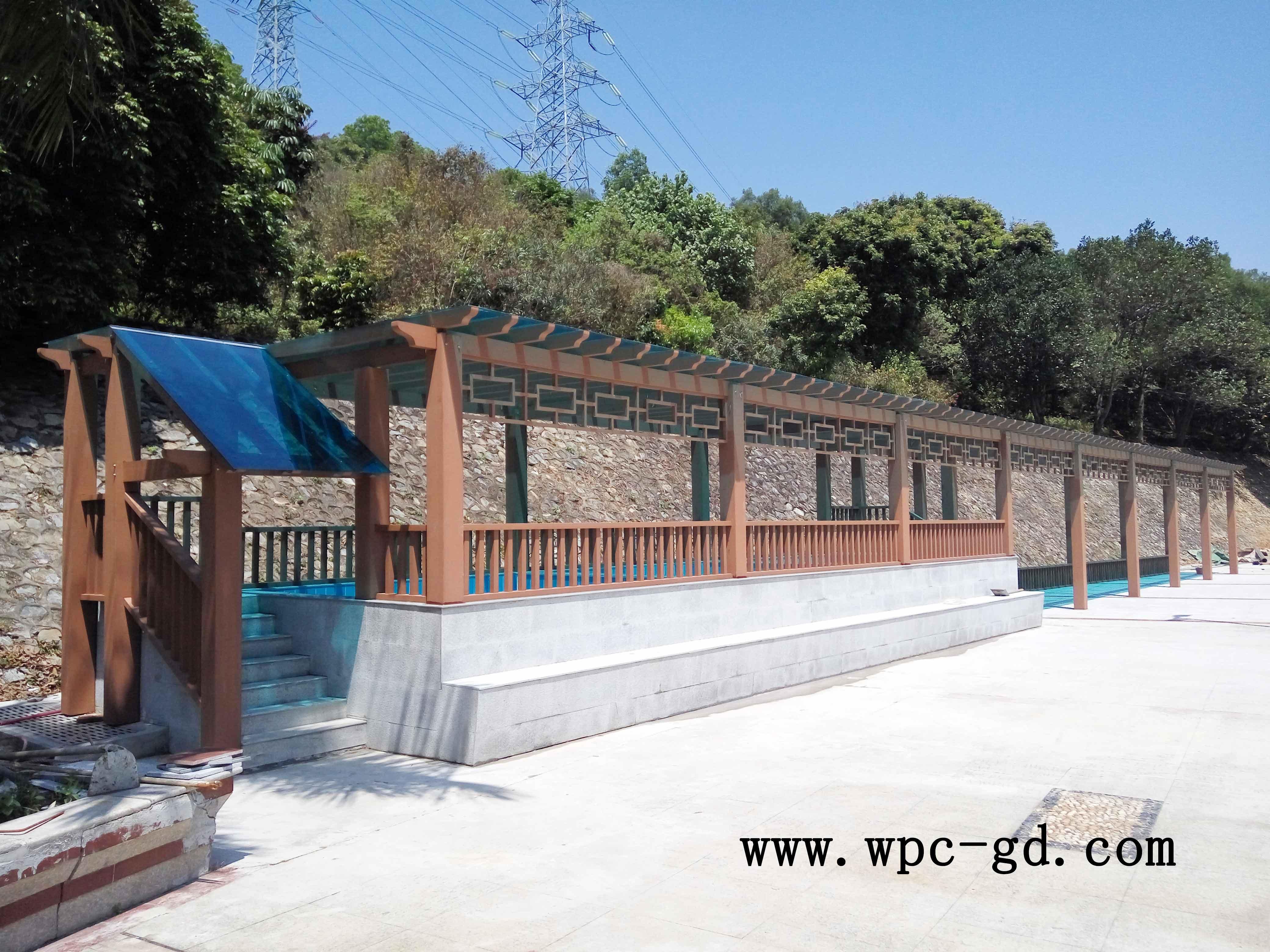 园龙山游泳池廊架工程