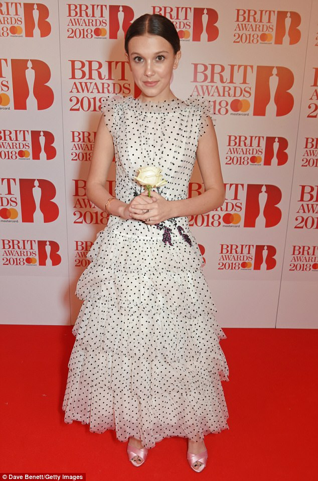 Ruffles: Millie, who has previously wowed fans with her powerful voice, showed off her fashion credentials in the dress, which featured layer upon layer of ruffles
