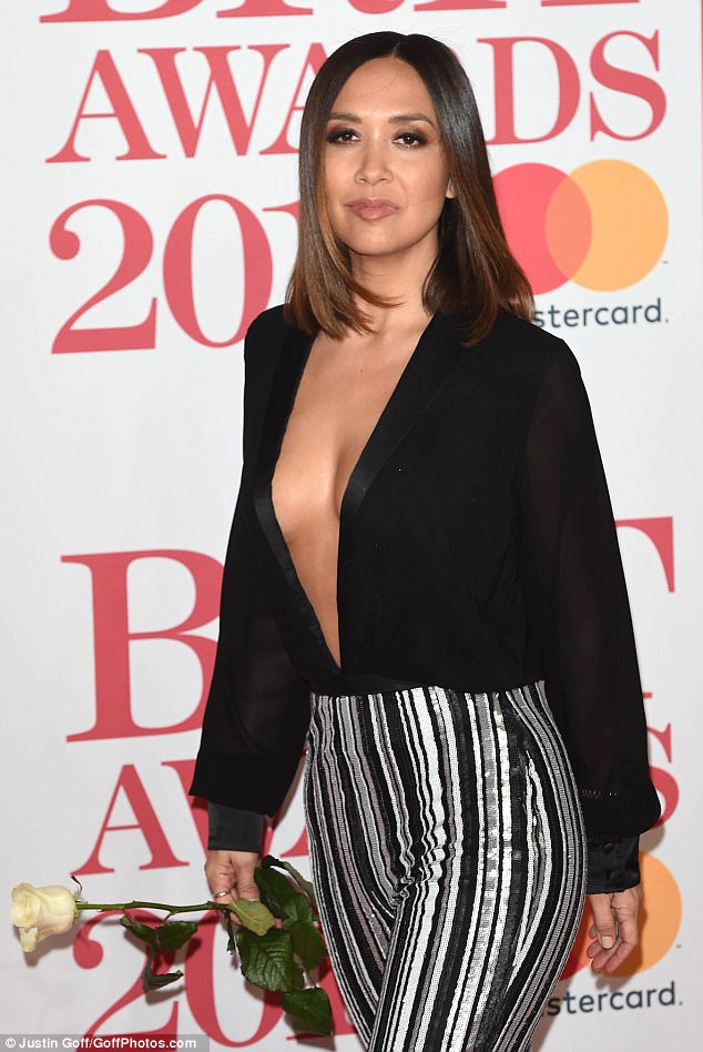 Making a statement: Myleene carried a white rose following the #MeToo movement