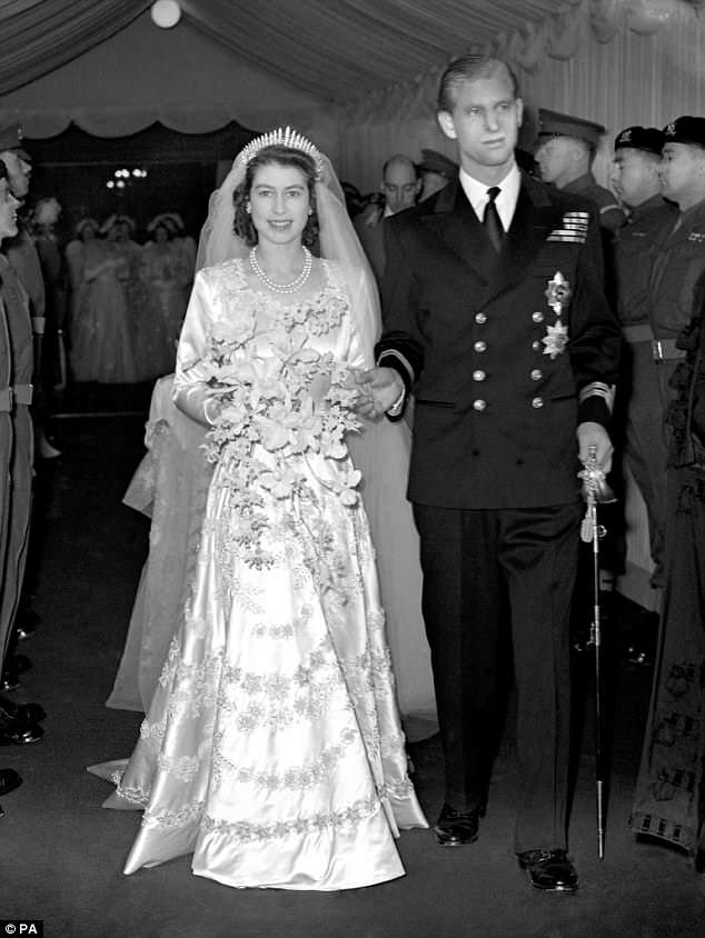The Queen chose a design by Norman Hartnell, saving up her ration coupons to pay for the gown which featured 10,000 seed pearls, and a 13-foot, star-patterned lace train.