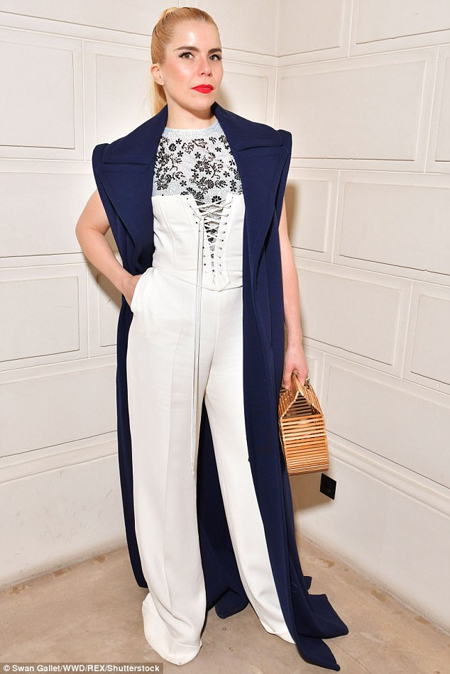 Star-studded:The actress, 42,  joined a trendy Paloma Faith (above) on the FROW, at the showcase in the French capital