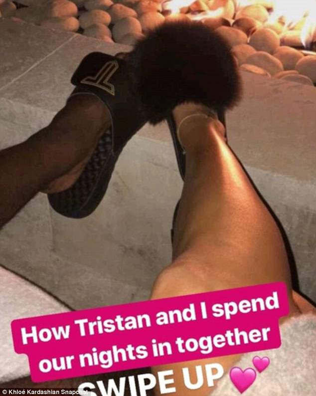 Getting cozy: Khloe Kardashian took to her premium website and app to reveal what she and Tristan Thompson like to do when they're together as she shared this on Snapchat
