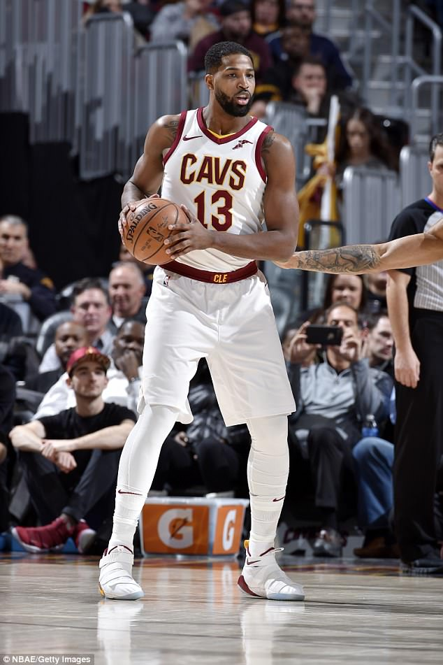 Champ: Khloe wrote that the couple has a very 'structured' life as Tristan has a 'strict and chaotic' work schedule of playing and traveling with the Cleveland Cavaliers, as he is pictured playing last week