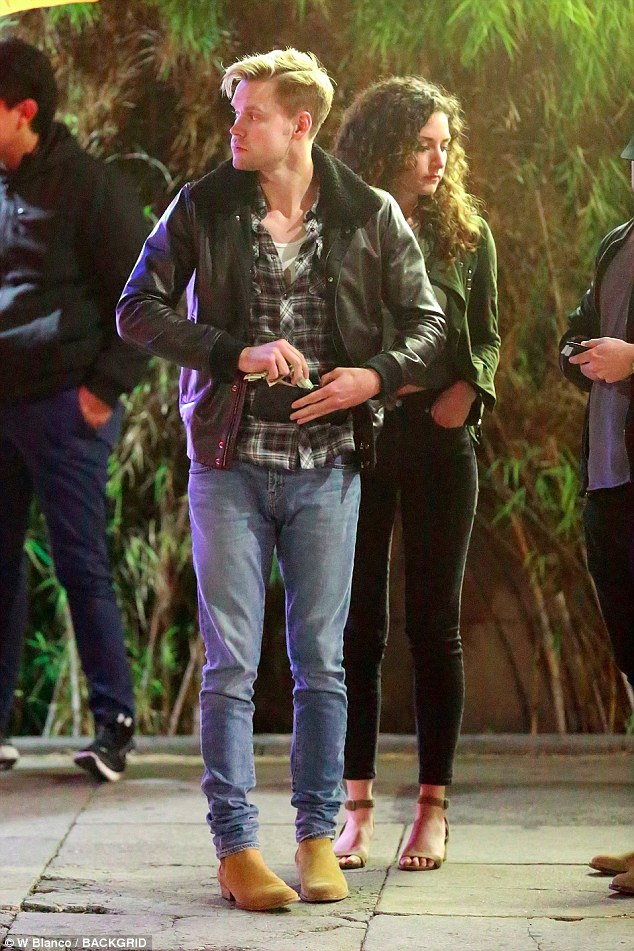 Going solo: There was no sign of Emma Watson when Chord Overstreet was seen with friends after eating at Franklin & Company Tavern in the Los Feliz district of Los Angeles on Friday