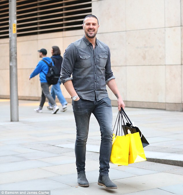 Lucky girl! Paddy McGuinness looked pleased with himself as he shopped at Selfridges and Chanel for his wife Christine's birthday after his night out wit Nicole Appleton