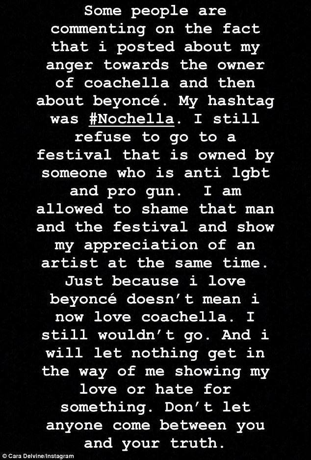 #Nochella: Fans were quick to call Cara out after she shared her distaste for the owner's LBGT and gun views, but defended her love of the singer on her Instagram Story on Sunday