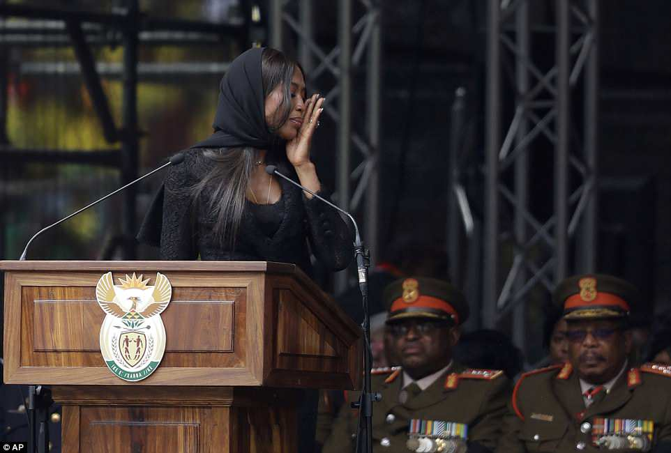 Though the British model kept her composure for most of the five-minute speech, her voice began to crack as she finished with 'may you rest in the greatness of the kingdom of God, next to the most extraordinary people. I love you'