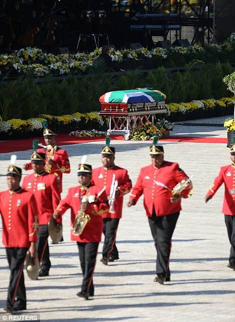 The coffin of Winnie Madikizela-Mandela arrives at the Orlando stadium in Soweto on Saturday