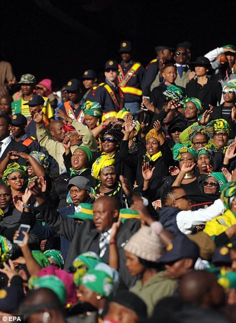 Mourners gather for the funeral of Winnie Mandela at Orlando stadium in Soweto, Johannesburg, South Africa 14 April 2018. Winnie Mandela, former wife of Nelson Madela and anti-apartheid activist, passed away in a Johannesburg hospital on 02 April 2018 aged 81