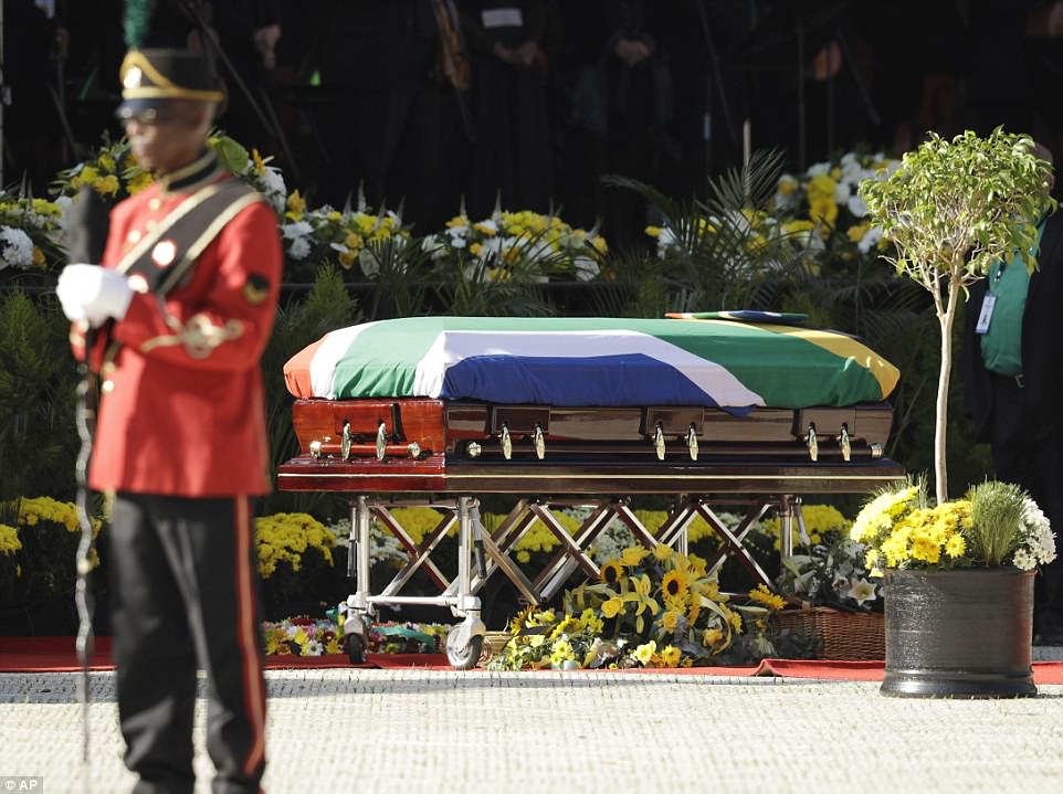 The casket carrying the remains of struggle icon Winnie Madikizela-Mandela arrives at the Orlando Stadium in Soweto on Saturday