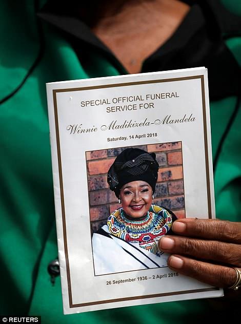 Funeral service sheet of Winnie Mandela