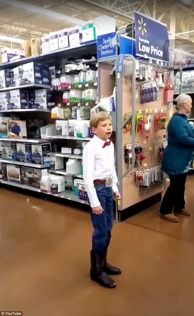 Rising star: Mason became internet famous earlier this month when his performance of Hank Williams classic Lovesick Blues inside of a Walmart went viral