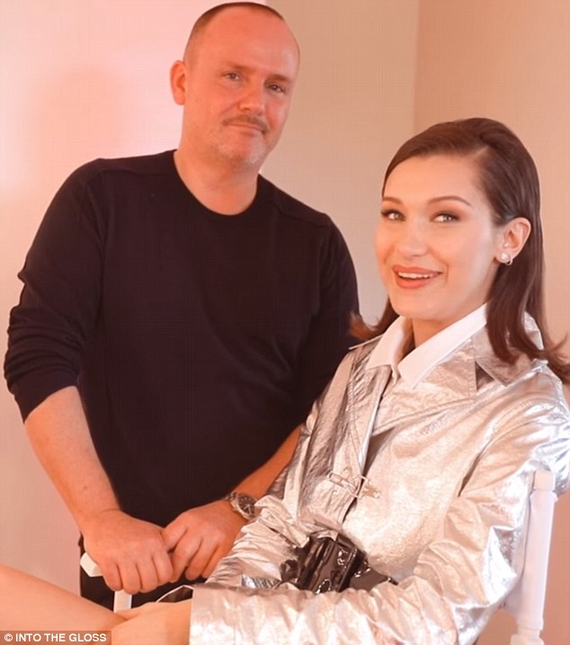 Beauty secrets: Bella Hadid pictured with long-time makeup artist Peter Phillips how she loves a simple lip with some mascara for an everyday look