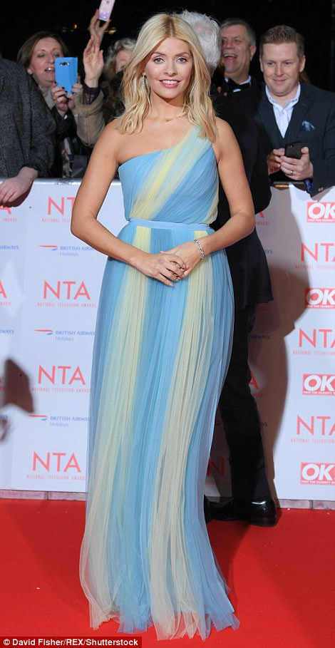 Gorgeous: Holly, who is known for her daily fashion displays on ITV's This Morning, proved her show-stopping sense of style once again as she hit the carpet in a pastel coloured Grecian gown