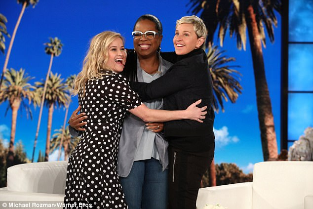BFFs: Oprah Winfrey taped an appearance on Ellen DeGeneres's chat show and found herself being fought over by the comedienne and her A Wrinkle In Time co-star Reese Witherspoon