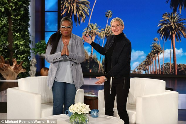 A-list guest: Ellen welcomed Oprah who had been among the celebrities at the comedienne's star-studded 60th birthday party earlier this month