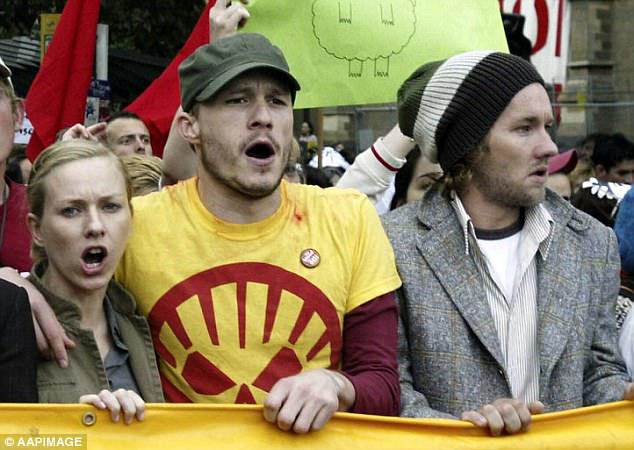 Activist: Heath and Nicole are pictured at an Iraq War protest in Melbourne in 2003 alongside fellow Australian actor Joel Edgerton (right)