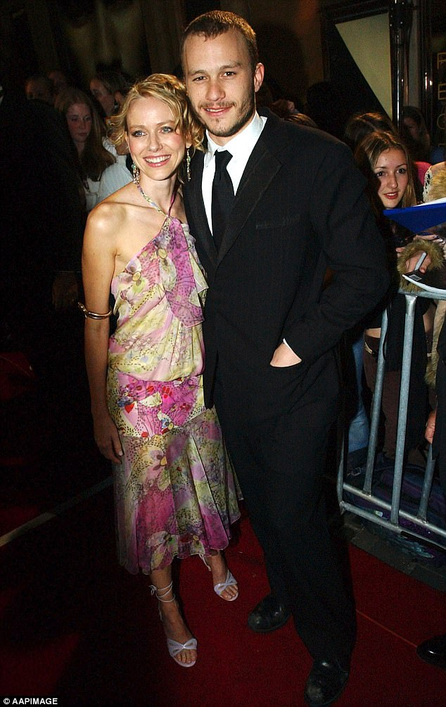 Former flames: Naomi Watts has paid tribute to late Brokeback Mountain actor Heath Ledger on the 10th anniversary of his death. Pictured in March 2003 in Melbourne
