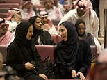 The private screening in Riyadh marks one of the clearest moments of change to sweep the country in decades. Pictured: Women laugh at the screening on Wednesday