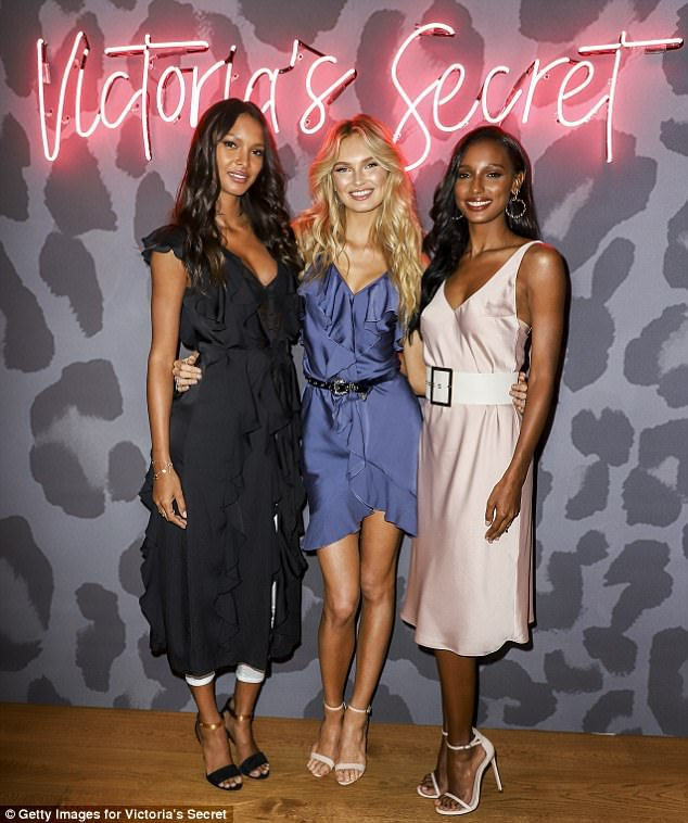 Just the girls!The two lingerie clotheshorse were later joined at the Victoria's Secret event with good friend and fellow model, Romee Strijd