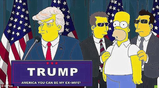 Major events: It's not the first time the cartoon is seen to predict the future, perhaps the most famous which was when creators appeared to foresee the presidency of Donald Trump (pictured)