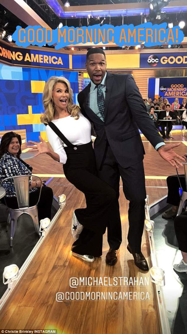 Fun times on the show: During a commercial break she goofed around with Michael Strahan