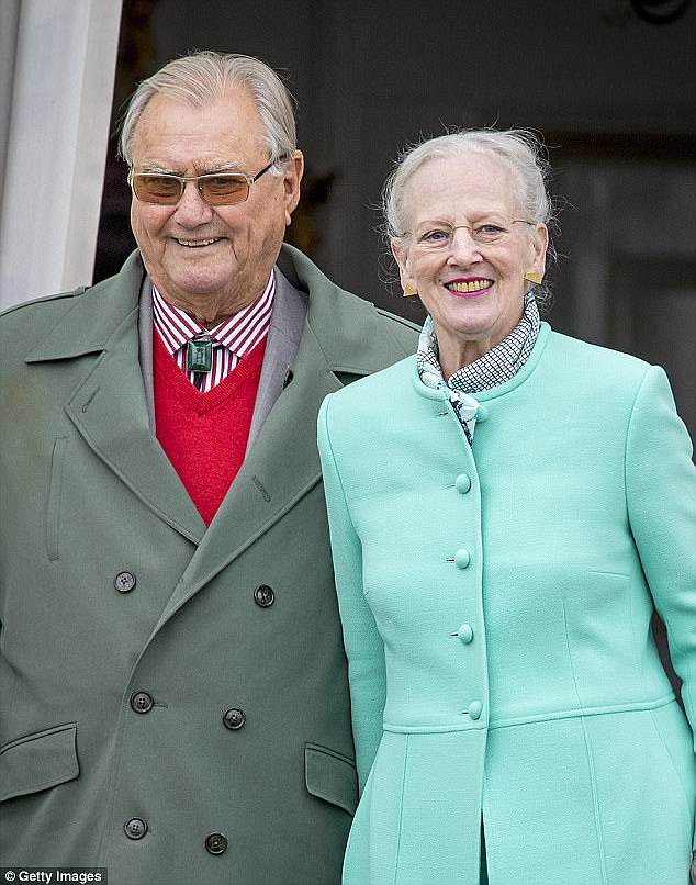 As her mother-in-law, Queen Margrethe, 77, ages (pictured with Prince Henrik), Amalienborg Palace are increasingly turning to Prince Frederik and Princess Mary for public appearances
