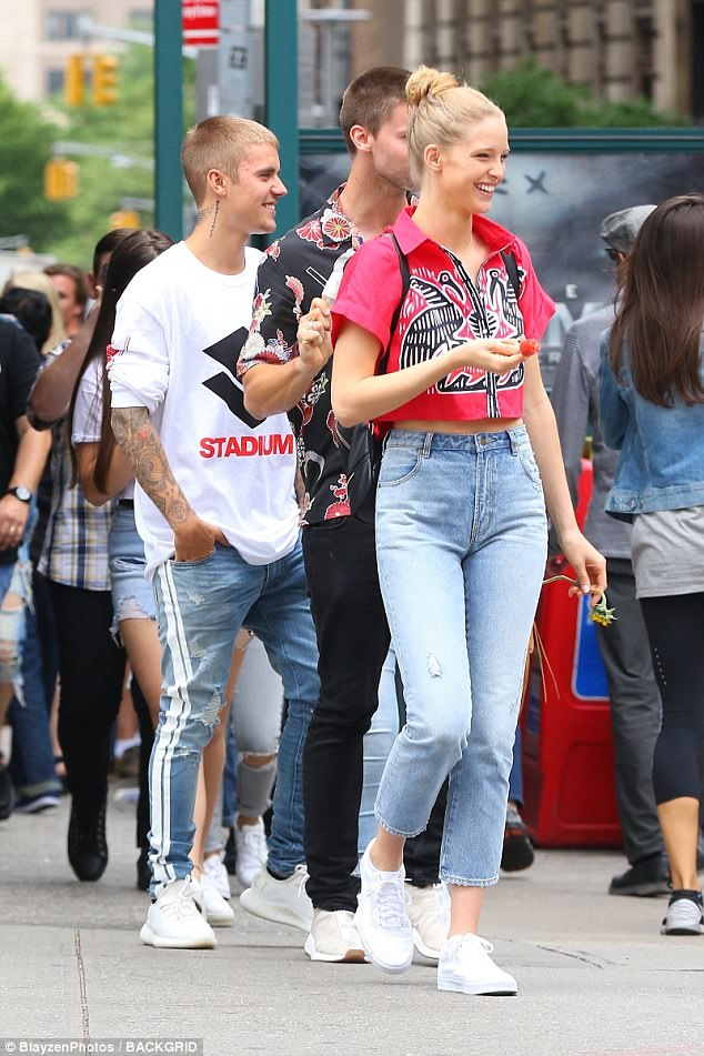 Connection: Baskin was likely introduced to the Sorry hitmaker through her sister Abby, who is dating Bieber's good friend Patrick Schwarzenegger (Justin and Abby pictured in May)