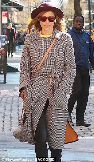 A-list style: The 35-year-old actress donned a maroon wide brim hat and brown tinted sunglasses for her afternoon outing
