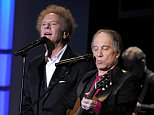 Art Garfunkel and Paul Simon of Simon & Garfunkel performing