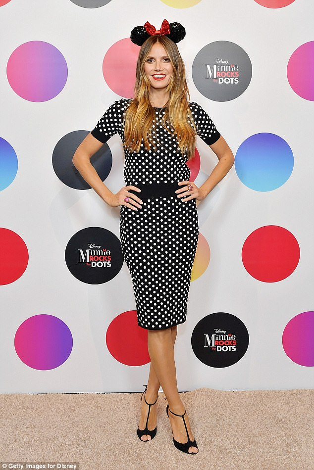 Looking good: Heidi sported polka dots with strappy heels