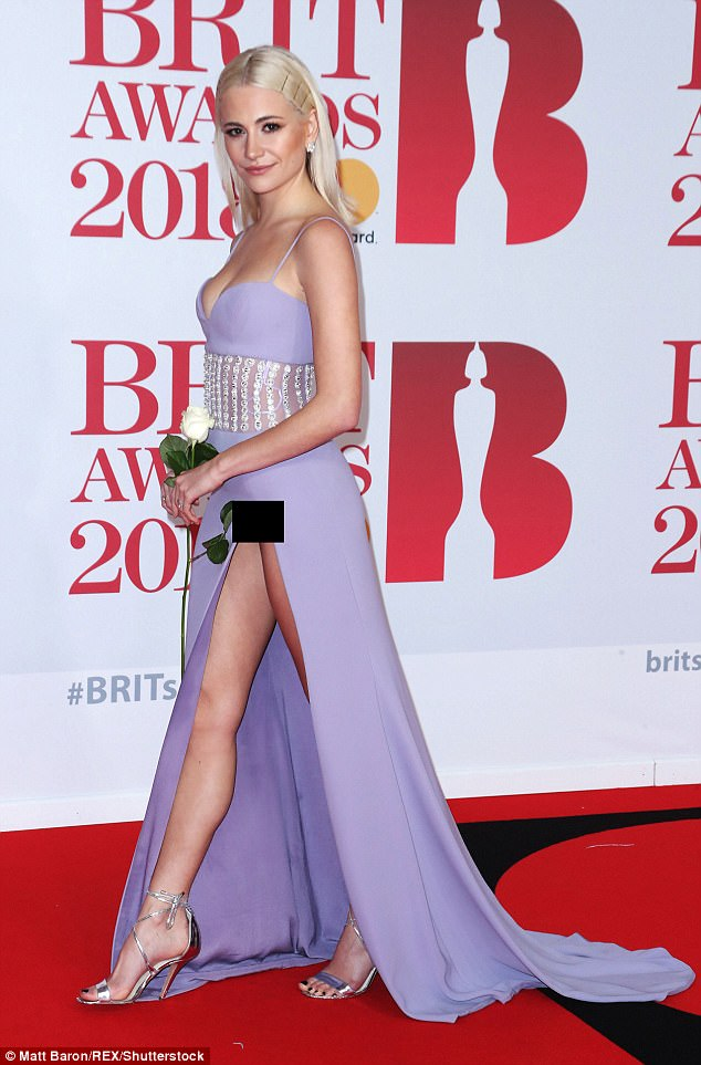 Oops! Pixie Lott caught all the attention for a different reason as she suffered a wardrobe malfunction at the BRIT Awards at London's O2 Arena on Wednesday night