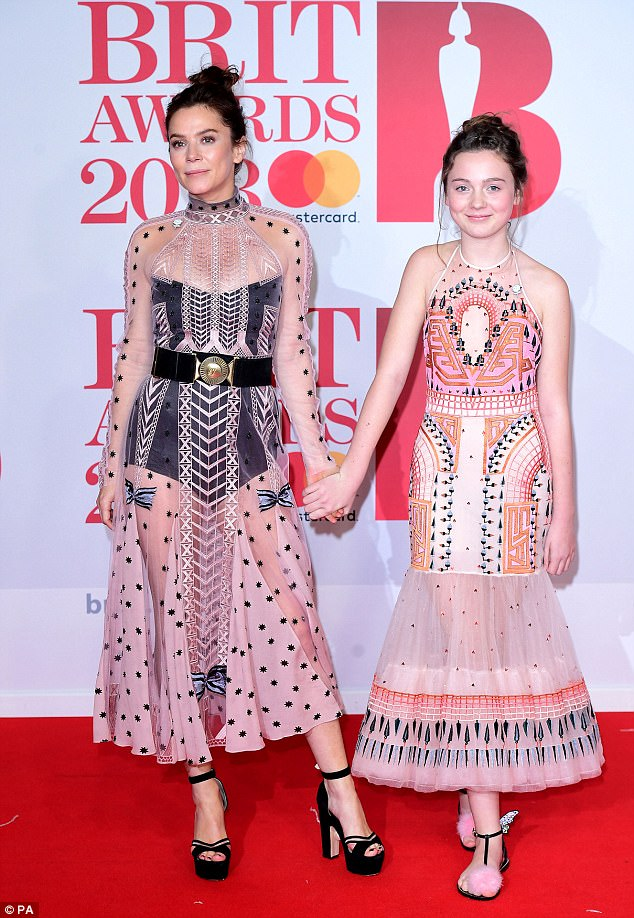 Match with mother:Anna Friel brings look-a-like daughter Gracie, 12, as her guest to the BRITs... as pair arrive in quirky matching pink and black ensembles
