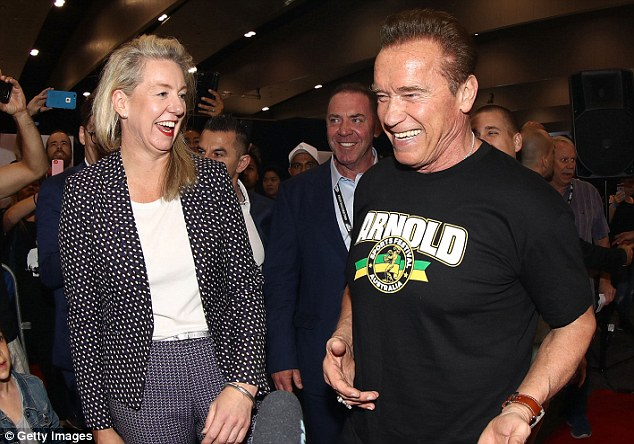 Down Under: Arnie is in Melbourne for the 2018 The Arnold Sports Festival. He will next be seen in film Viy 2: Journey to China alongside Jackie Chan and Jason Flemyng
