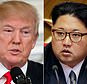 """FILE - This combination of two file photos shows U.S. President Donald Trump, left, speaking in the State Dining Room of the White House, in Washington on Feb. 26, 2018, and North Korean leader Kim Jong Un attending in the party congress in Pyongyang, North Korea on May 9, 2016. Trump is claiming Sunday, April 22, 2018, that North Korea has agreed to """"denuclearization"""" before his potential meeting with Kim, but that's not the case. The North says it will suspend nuclear tests and intercontinental ballistic missile launches before summits with the U.S. and South Korea. The North stopped short of suggesting it has any intention of abandoning its nuclear arsenal. (AP Photo/Evan Vucci, Wong Maye-E, File)"""
