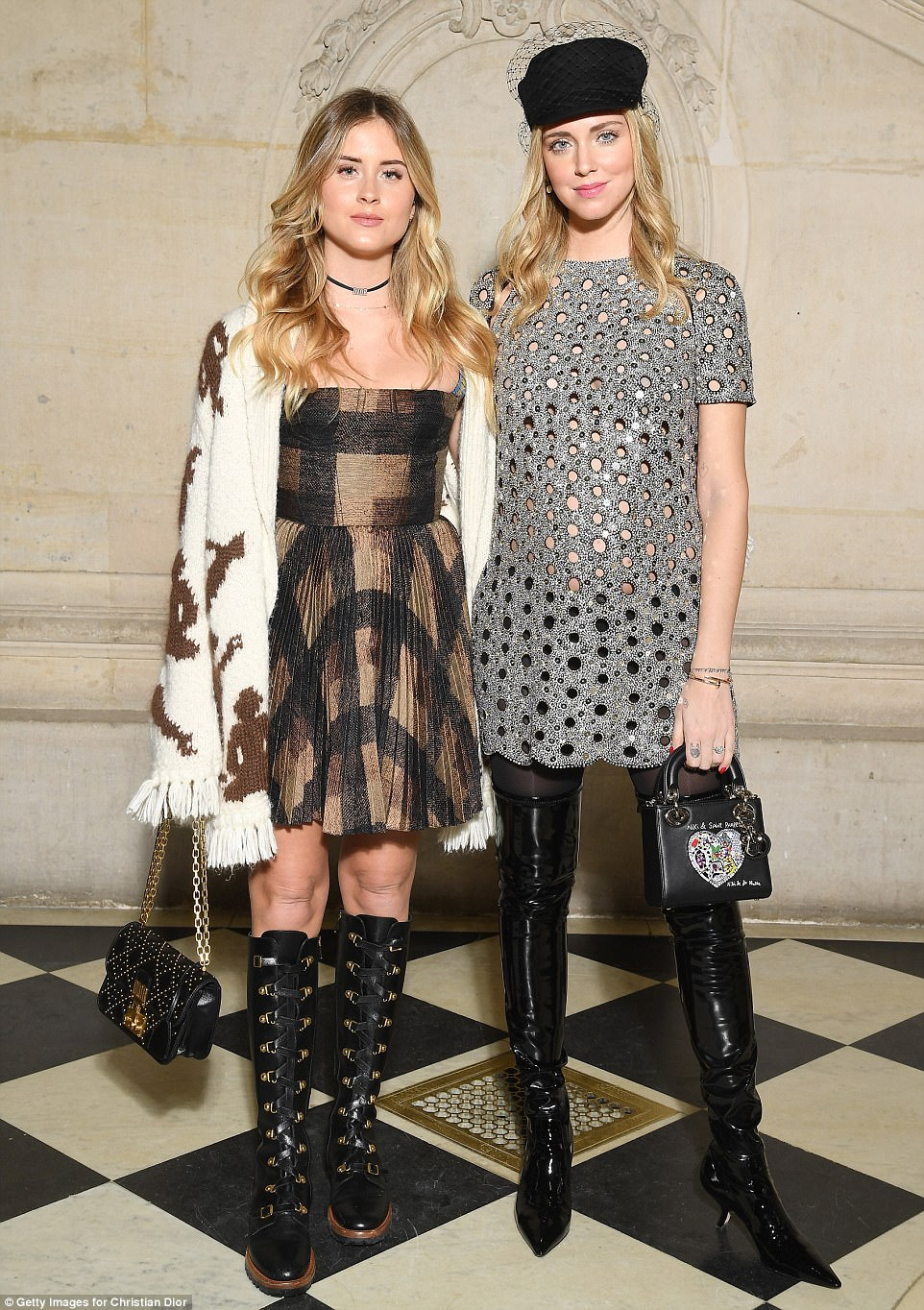 Sister, sister: Style blogger Chiara Ferragni posed with her younger sisterValentina