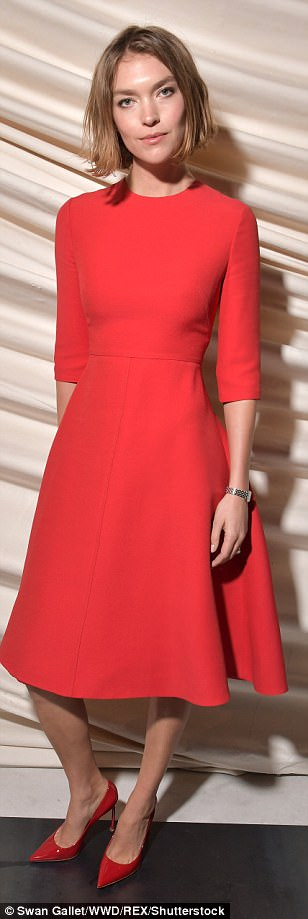 Bold: Arizona Muse lived up to her last name in a gorgeous red dress which flattered her slender frame effortlessly