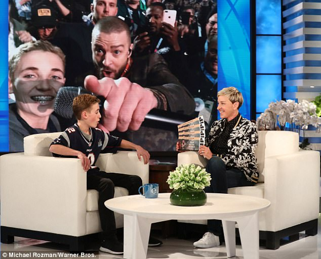 Blown away: Ryan got a surprise from Justin during his appearance on The Ellen DeGeneres Show last February