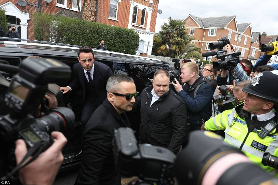 The Saturday Night Takeaway host arrived with a large entourage, including bodyguards