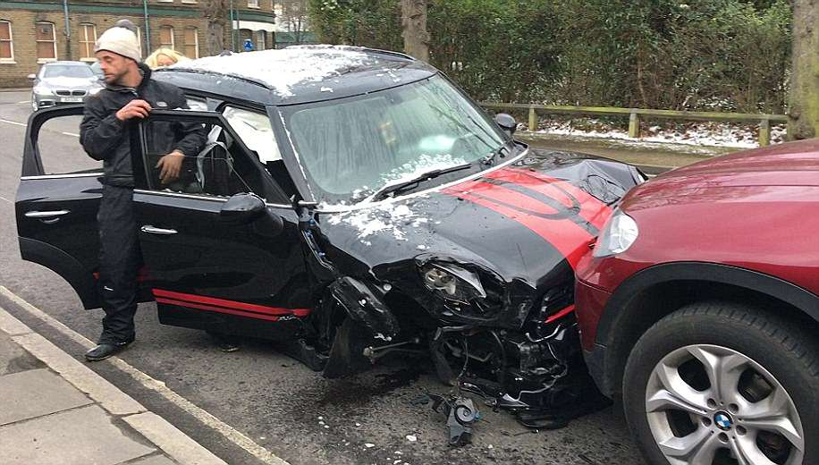 Ant's black Mini collided head-on with the BMW of a doctor who had her nine-year-old son as a passenger
