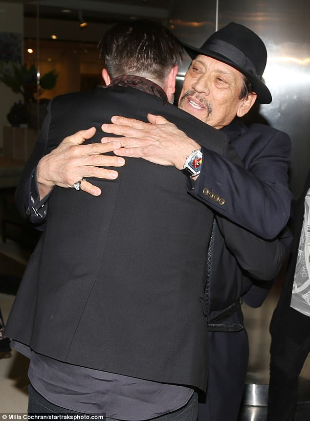 A real friendship: At one point the two actors warmly embraced each other