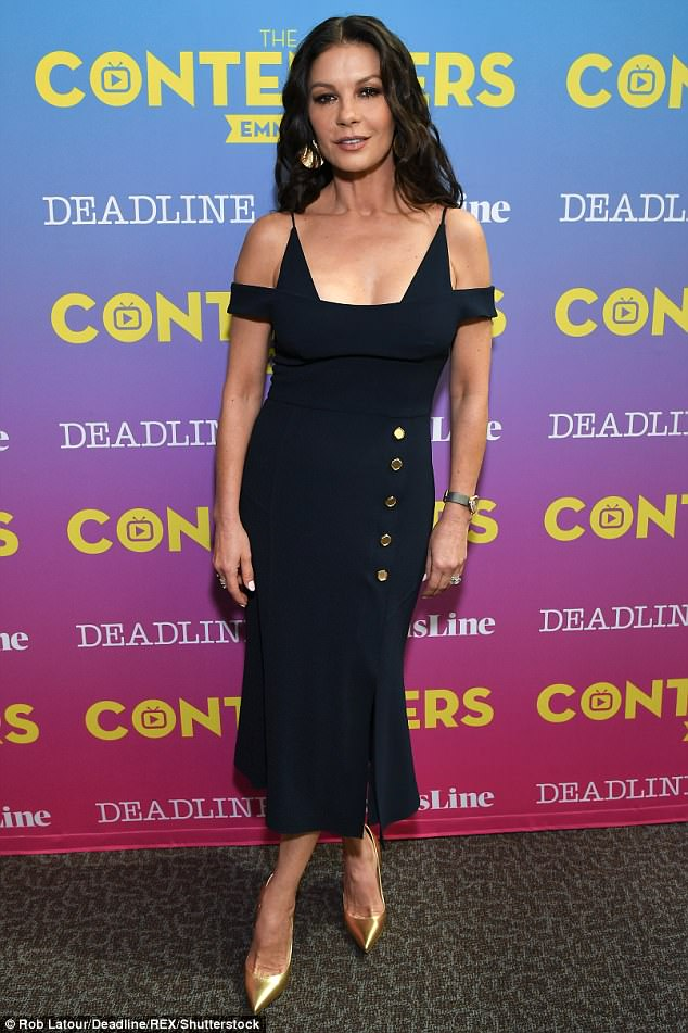 Timeless beauty: Catherine  ensured all eyes were on her youthful appearance as she graced the third annual Contenders Emmys at Hollywood's DGA Theater on Sunday evening