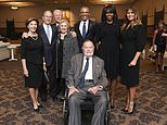 This Saturday, April 21, 2018, photo provided by the Office of former U.S. President George H.W. Bush, shows Bush, front center, and past presidents and first ladies Laura Bush, from left, George W. Bush, Bill Clinton, Hillary Clinton, Barack Obama, Michelle Obama and current first lady Melania Trump in a group photo at the funeral service for former first lady Barbara Bush, in Houston. Barbara Bush died Tuesday, April 17. She was 92. (Paul Morse/Courtesy of Office of George H.W. Bush via AP)